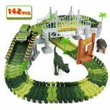 PL Circuito Coches Niños Pista de Coche y Dinosaurios Juguetes Flexible 142 Piezas para Niños 3 4 5 6 Años [OFERTAS]