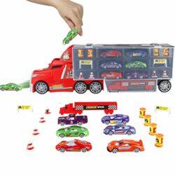 PL Coches Juguetes Camión Transportador para Niños 3 4 5 Años Juguete Transporte Playset 6 Mini Vehículo de Metal Niños y Niñas [OFERTAS]